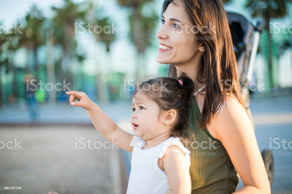 Mother and daughter at the beach. royalty-free stock photo
