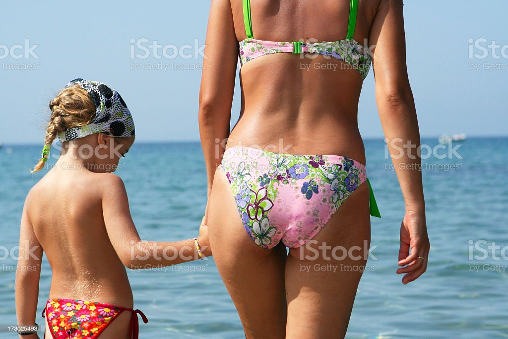 Mother and daughter at the sea royalty-free stock photo