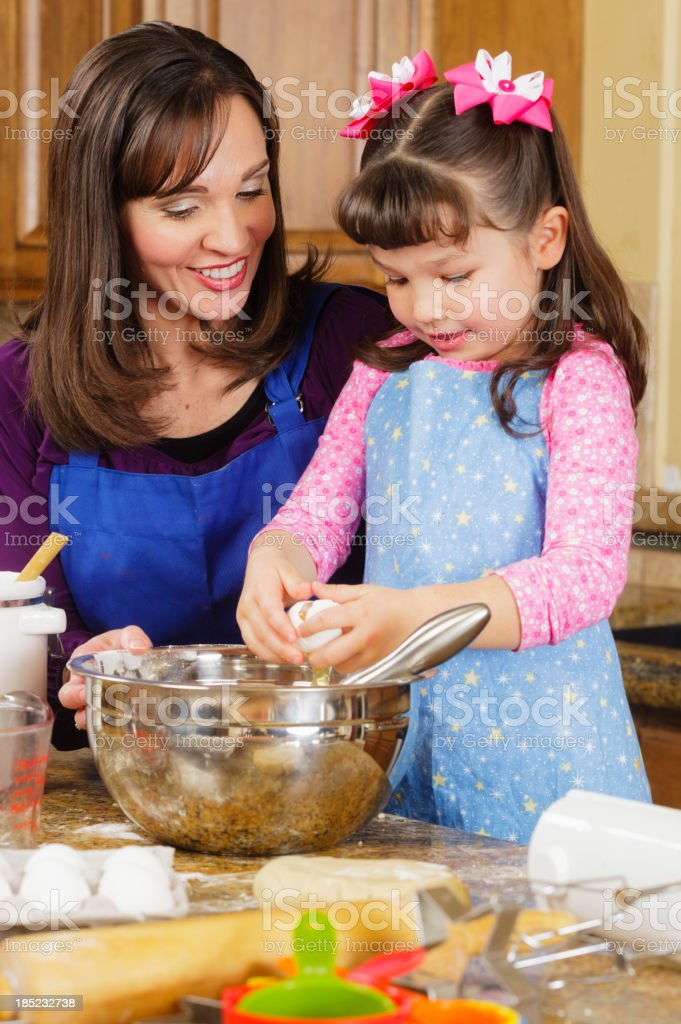 Mother and Daughter Baking royalty-free stock photo
