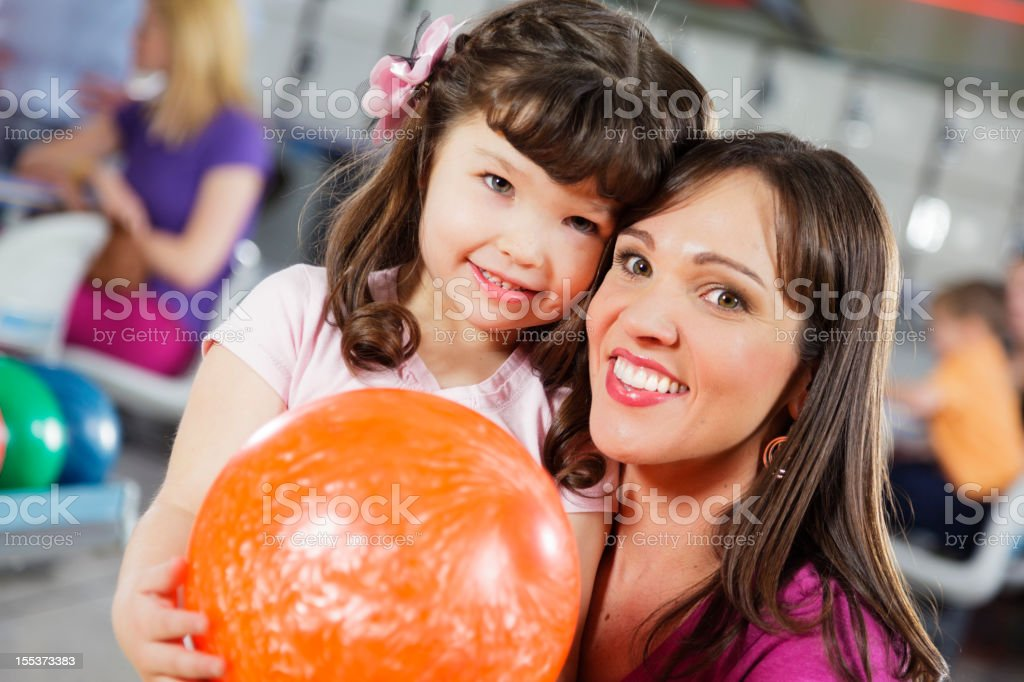 Mother and Daughter Bowling royalty-free stock photo