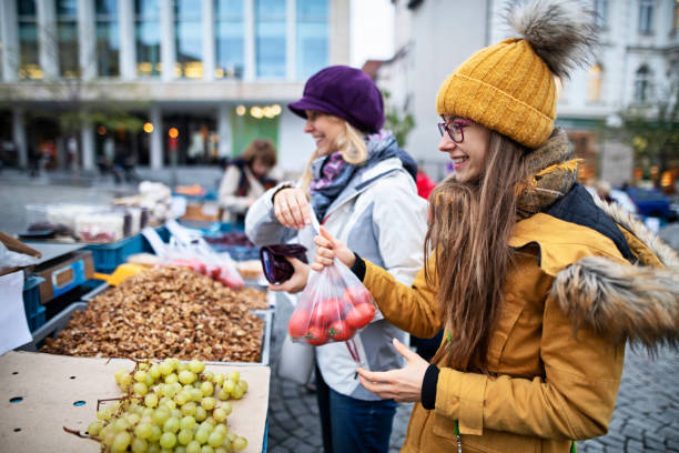 Mother and daughter buying groceries on farmer's market in Brno Mother and daughter buying at the Czech farmer's market.  Family is buying fresh tomatoes, walnuts and grapes. Zelny Trh, Brno old town, Czech Republic. Nikon D850 brno stock pictures, royalty-free photos & images