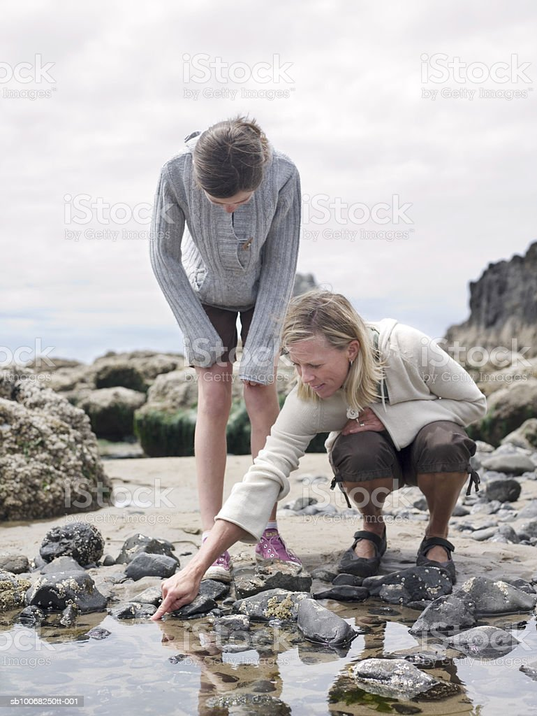 Mother and daughter (12-13) by tide pool royalty-free stock photo