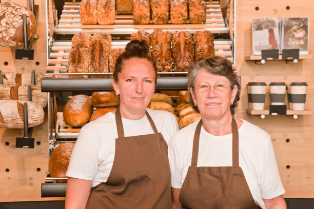 Mother and Daughter Coffee Shop Owner stock photo