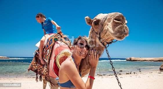 883177796istockphoto Mother and Daughter Enjoying Riding a Camel in Egyot 1044448604