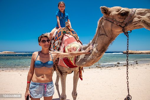883177796istockphoto Mother and Daughter Enjoying Riding a Camel in Egyot 1044448606