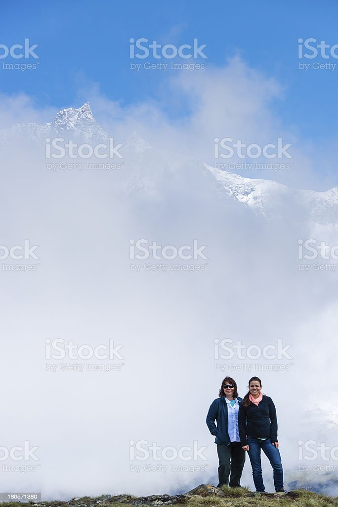 Mother and daughter enjoying the mountains -XXXL royalty-free stock photo