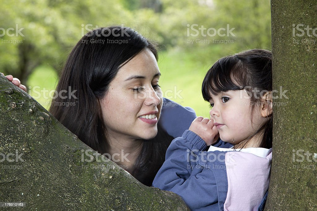Mother and Daughter Enjoying the Peacefulness of Nature royalty-free stock photo