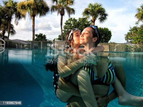 istock Mother and daughter enjoyment in swimming pool 1193862946