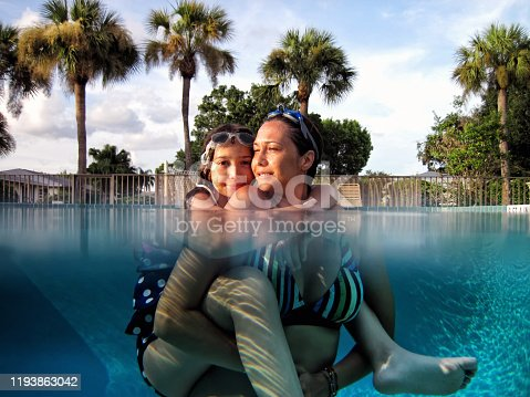 istock Mother and daughter enjoyment in swimming pool 1193863042