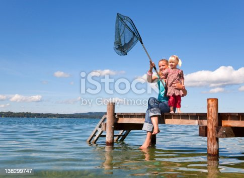 istock Mother and daughter fishing with net 138299747