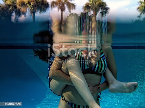 istock Mother and daughter fun in swimming pool 1193862689