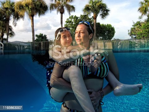 istock Mother and daughter fun in swimming pool 1193863007