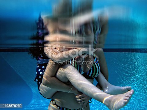istock Mother and daughter fun in swimming pool 1193878252