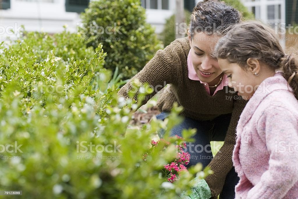 Mother and daughter gardening 免版稅 stock photo