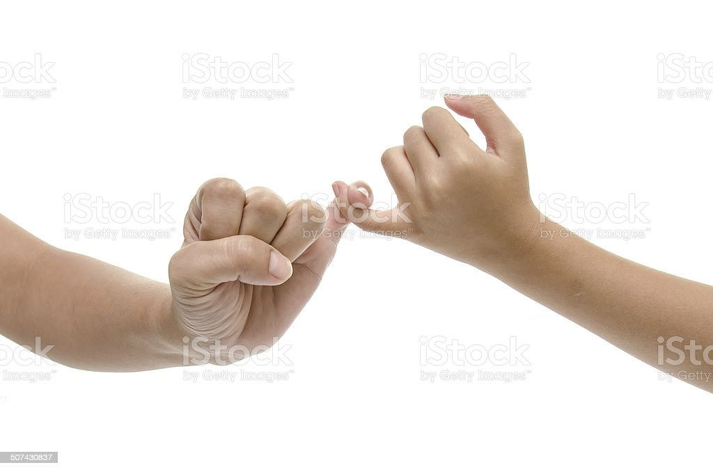 Mother and daughter hands promise isolated stock photo
