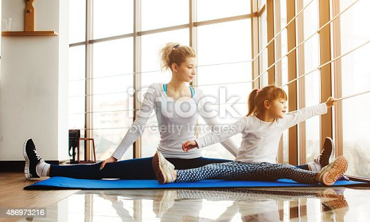 istock Mother and daughter have fun in the gym 486973216