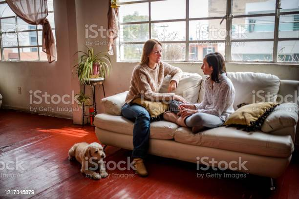 Mother And Daughter Having A Talk Stock Photo - Download Image Now