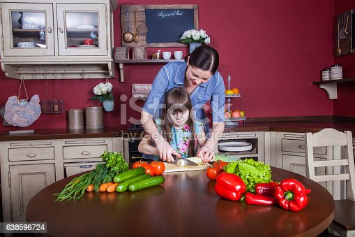 istock Mother and daughter having fun and making vegetable salad together. 638596724