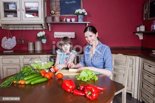 istock Mother and daughter having fun and making vegetable salad together. 638596988