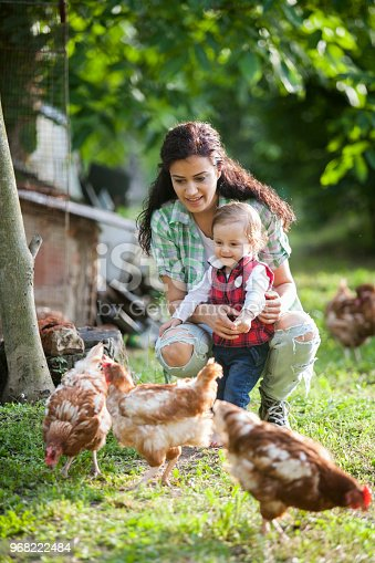 mother and daughter having fun at chicken farm