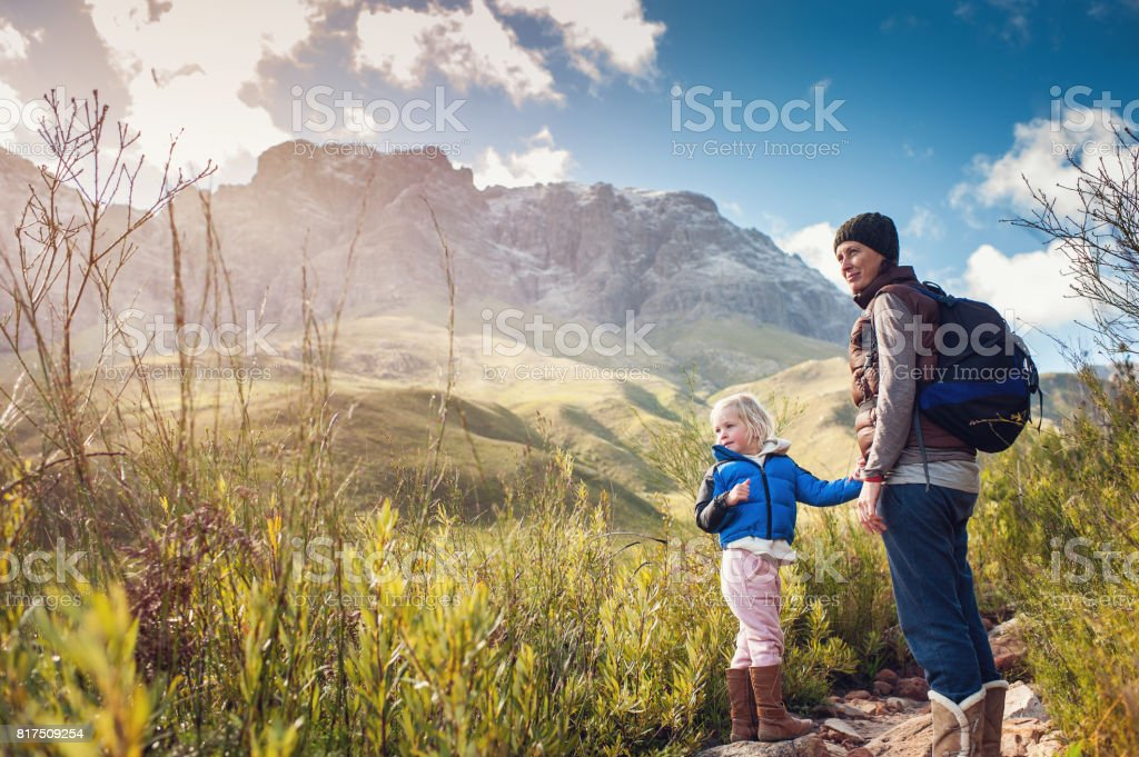 Mother and Daughter Hiking Outdoors stock photo