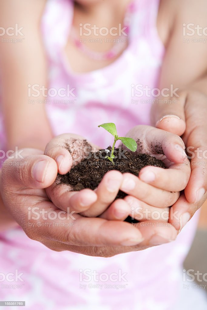 Mother and Daughter holding a baby plant royalty-free stock photo