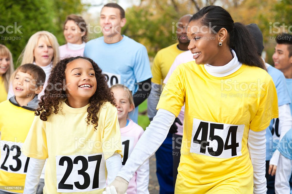 Mother and Daughter in Charity Race royalty-free stock photo