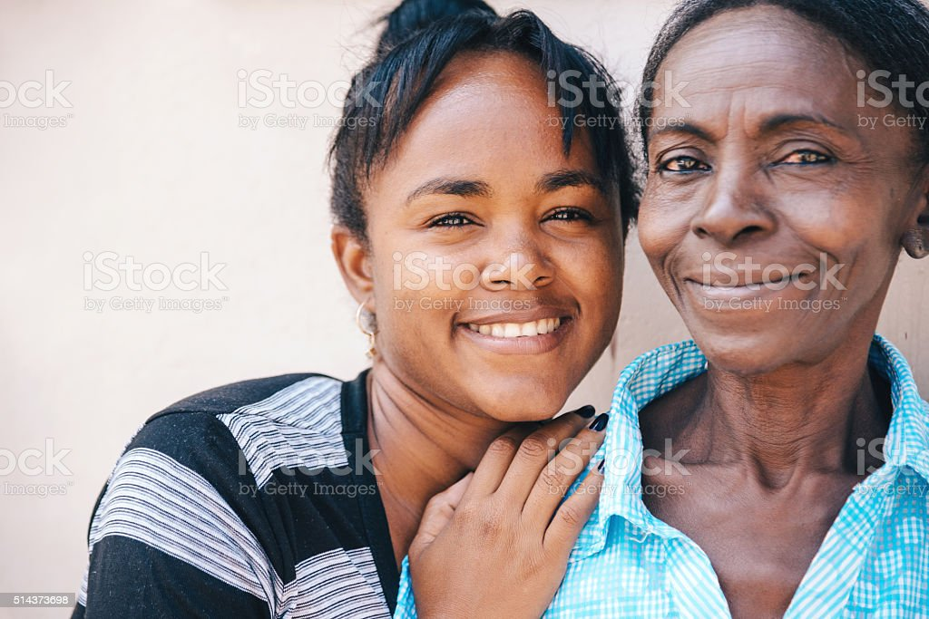 Mother and Daughter in Cuba stock photo