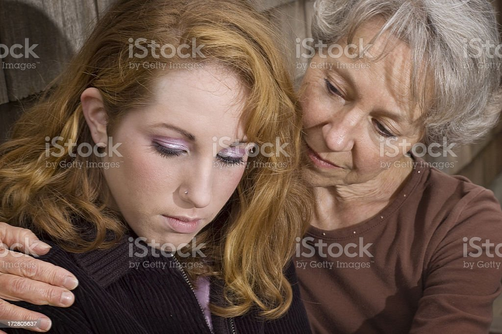 Mother and Daughter in Grief royalty-free stock photo