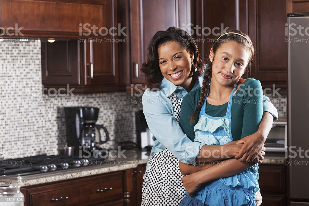 Mother and daughter in kitchen royalty-free stock photo