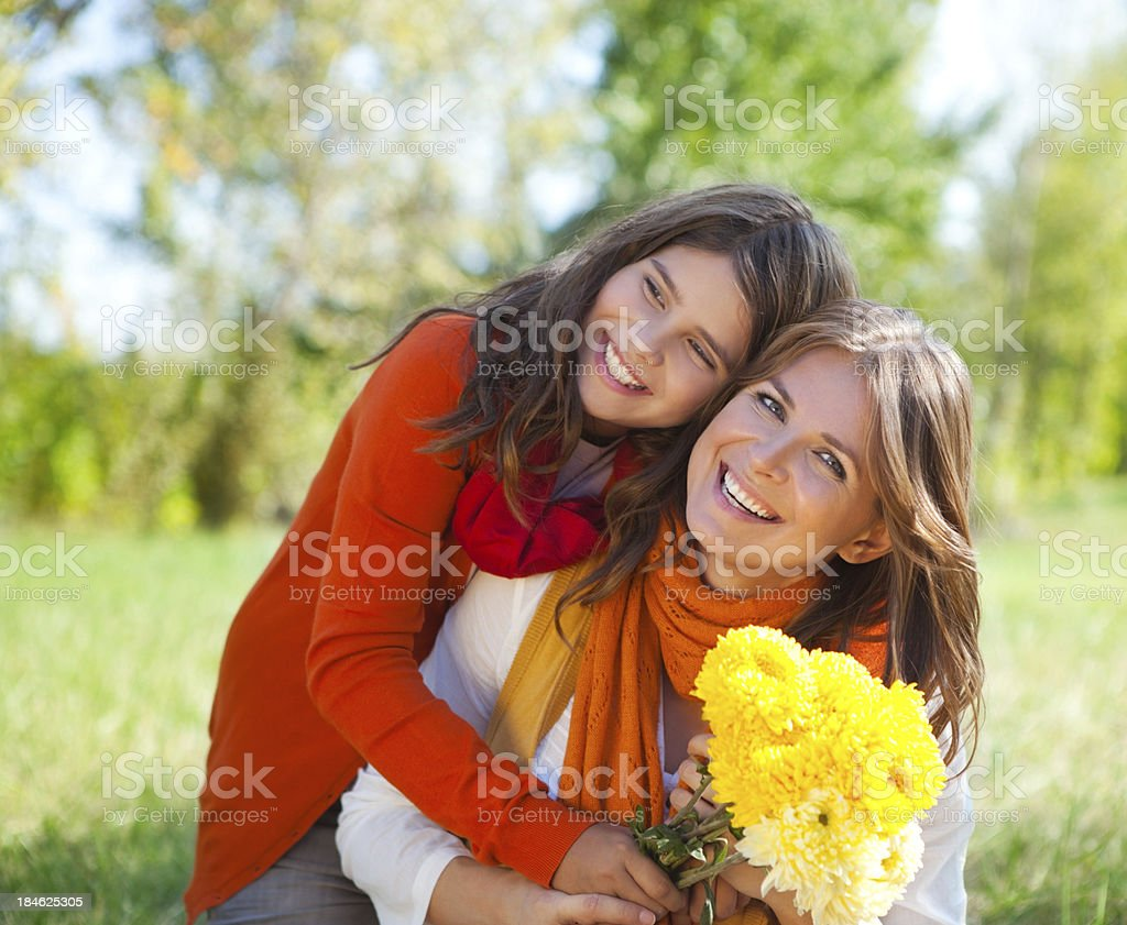 Mother and daughter in park. royalty-free stock photo