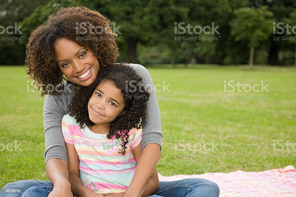 Mother and daughter in park 免版稅 stock photo