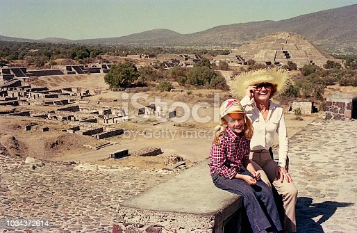 Vintage image of a mother and her daughter in  Teotihuacan, Mexico.
