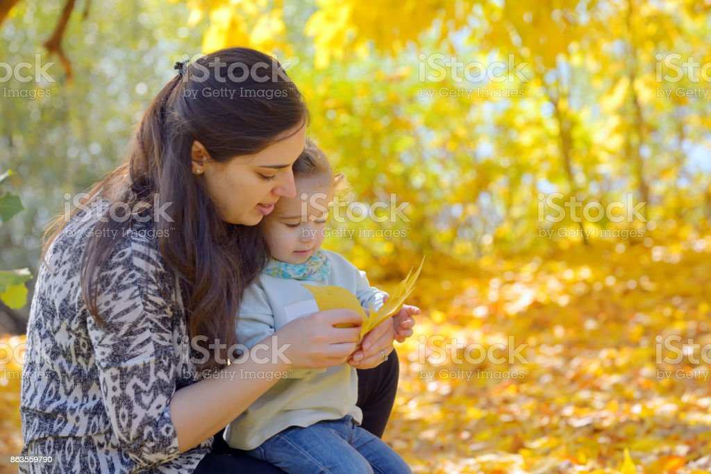 Mother and daughter in the autumn park stock photo