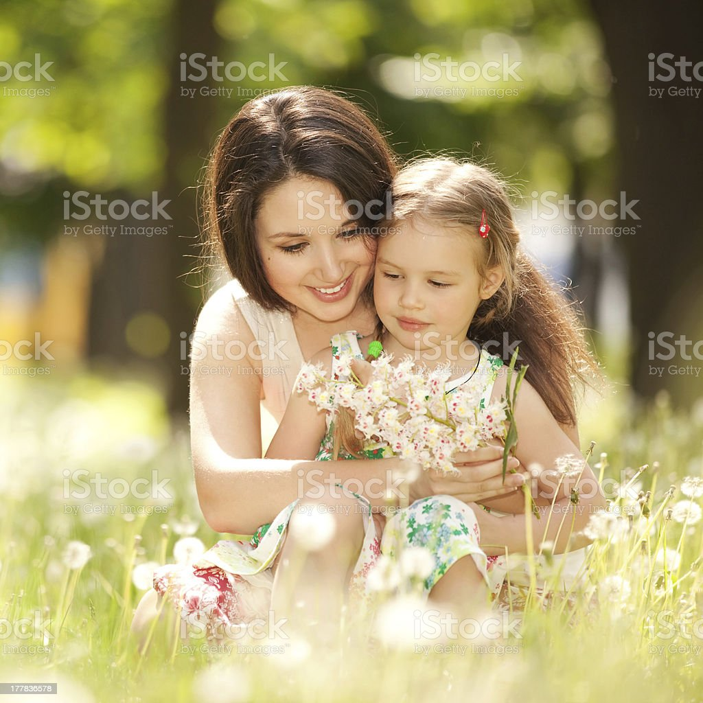 Mother and daughter in the park royalty-free stock photo