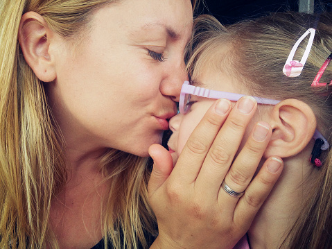 Mother And Daughter Kissing Nose Closeup Stock Photo ...