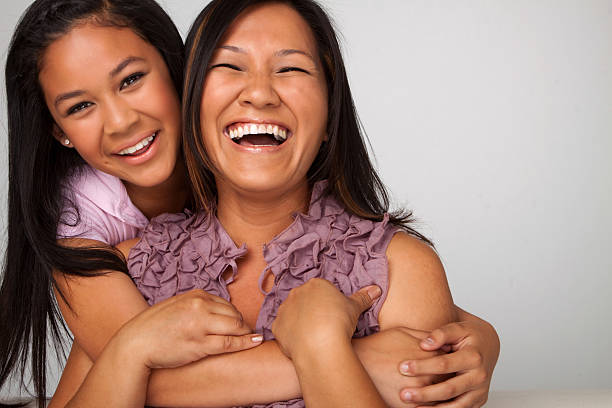 Mother and daughter Laughing stock photo