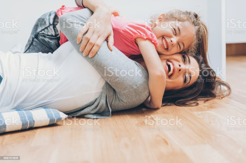 Mother and daughter love stock photo