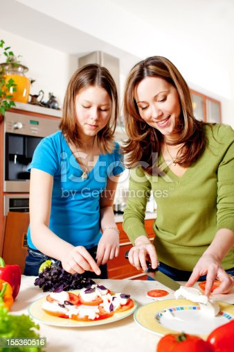istock Mother and Daughter making Mozarella Salad in kitchen 155360516