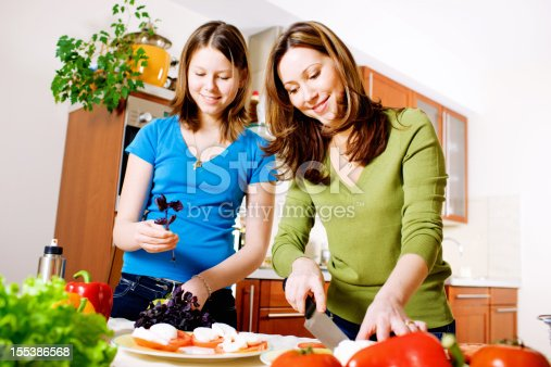 istock Mother and Daughter making Mozarella Salad in kitchen 155386568
