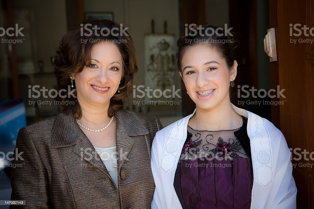 Mother and Daughter on Bat Mitzvah day stock photo