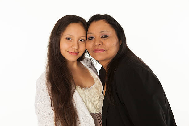 Mother and Daughter on White Background. stock photo