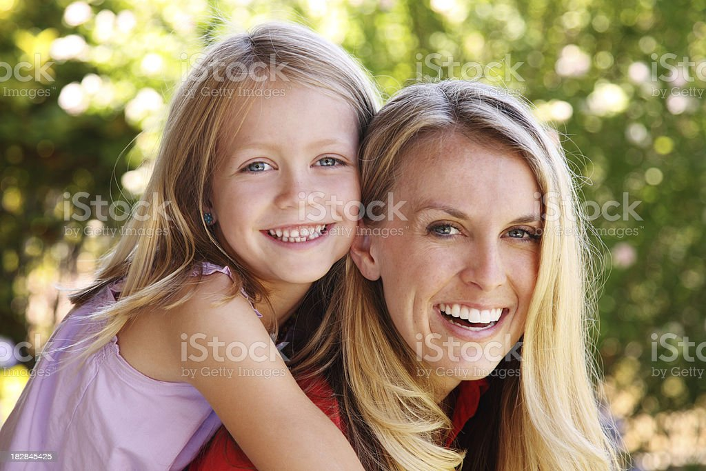 Mother And Daughter Outdoor Portrait royalty-free stock photo