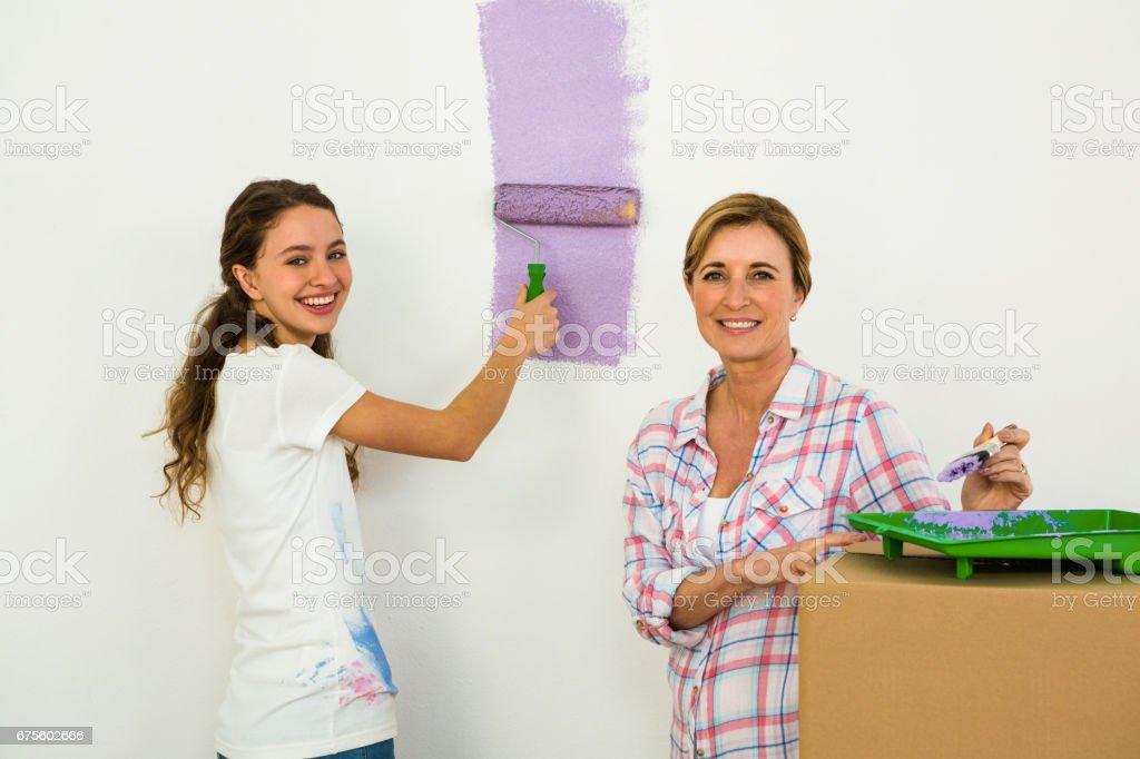 Mère et fille peinture photo libre de droits