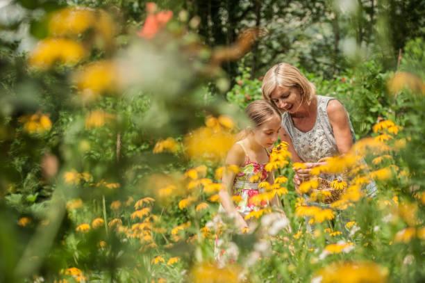 Mutter und Tochter pflücken Blumen im Sommergarten – Foto