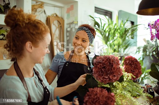Close up of a mother and daughter working together in their family flower shop