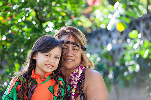 mother and daughter - hawaiian ethnicity stock photos and pictures