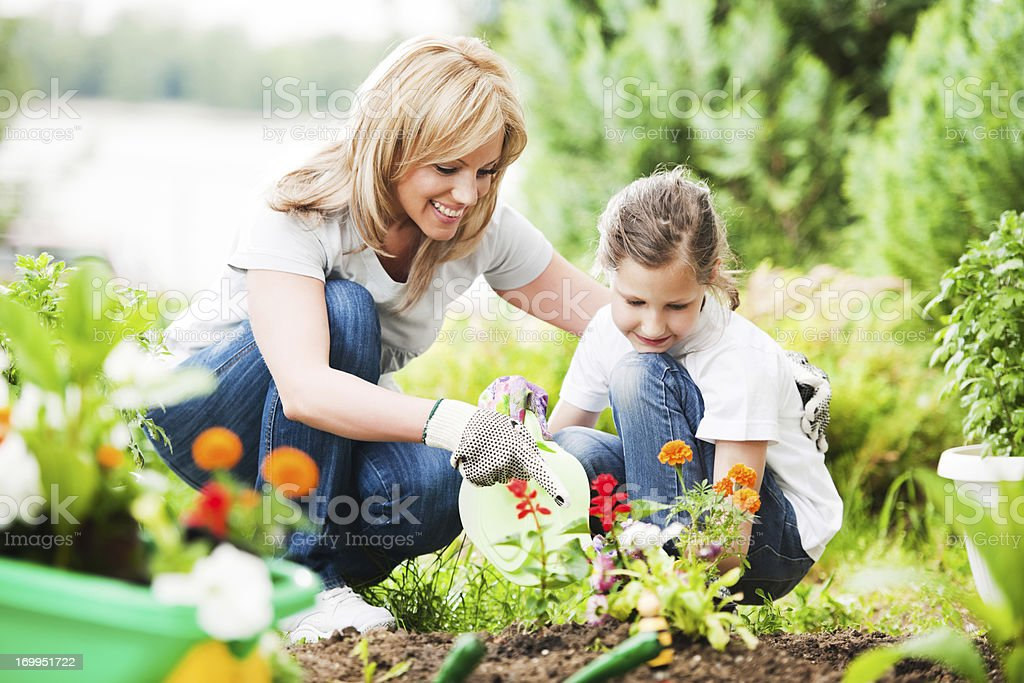 Mother and daughter planting flowers together stock photo
