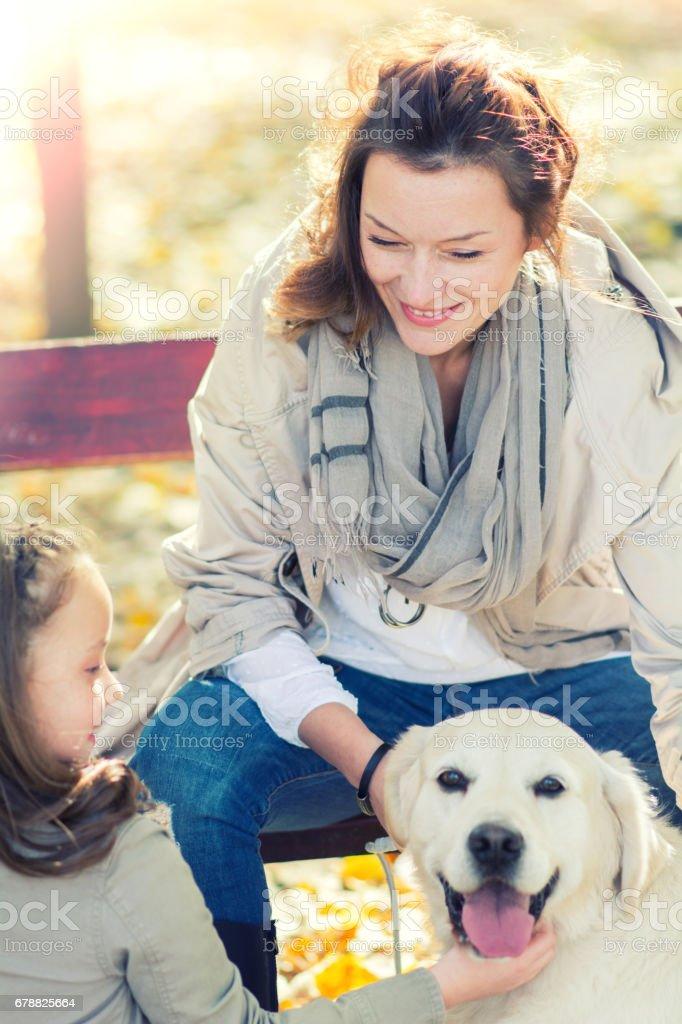 Mère et fille jouent avec le chien dans le parc automne photo libre de droits