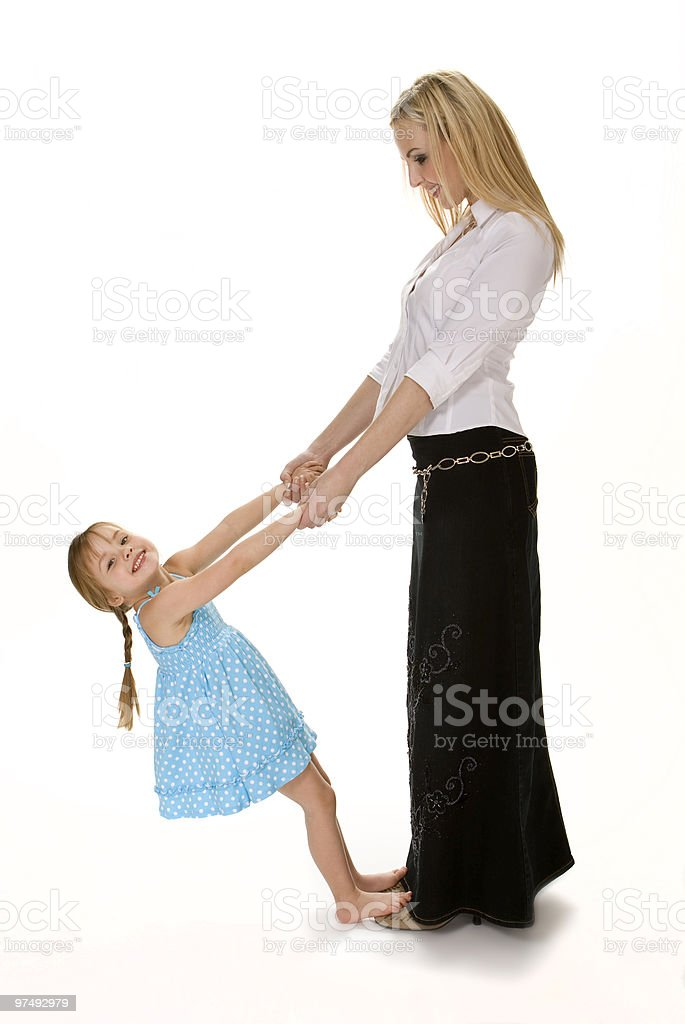 Mother and Daughter Playful on White royalty-free stock photo